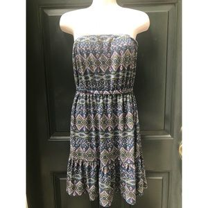 ✨ F21 Strapless Colorful Boho Print Dress